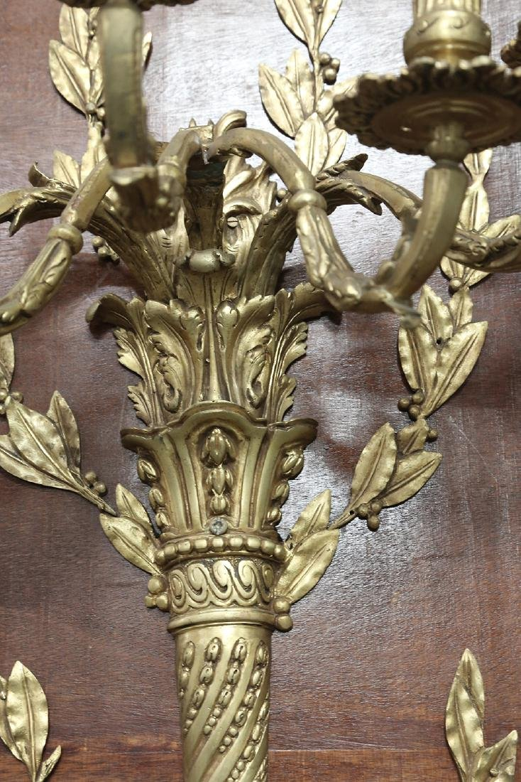 PAIR OF LOUIS XVI STYLE GILT BRONZE SCONCES - 4