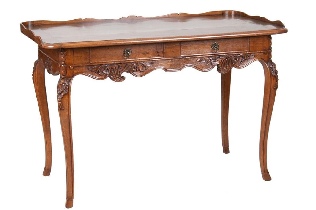 LOUIS XV CARVED OAK WRITING TABLE