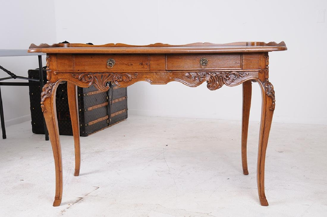 LOUIS XV CARVED OAK WRITING TABLE - 2
