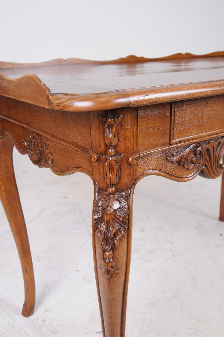 LOUIS XV CARVED OAK WRITING TABLE - 4