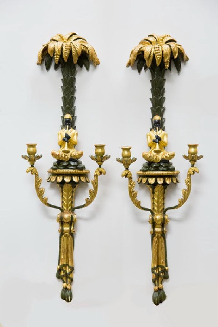 PAIR OF ITALIANATE PAINTED & PARCEL GILT WALL SCONCES