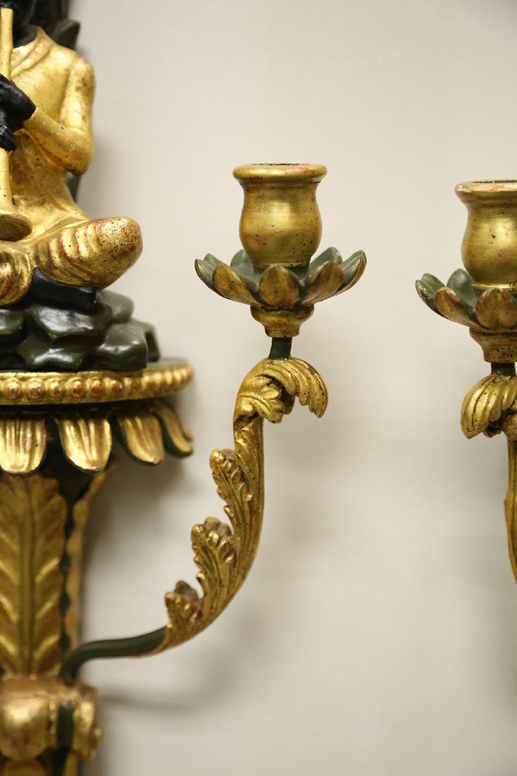 PAIR OF ITALIANATE PAINTED & PARCEL GILT WALL SCONCES - 4