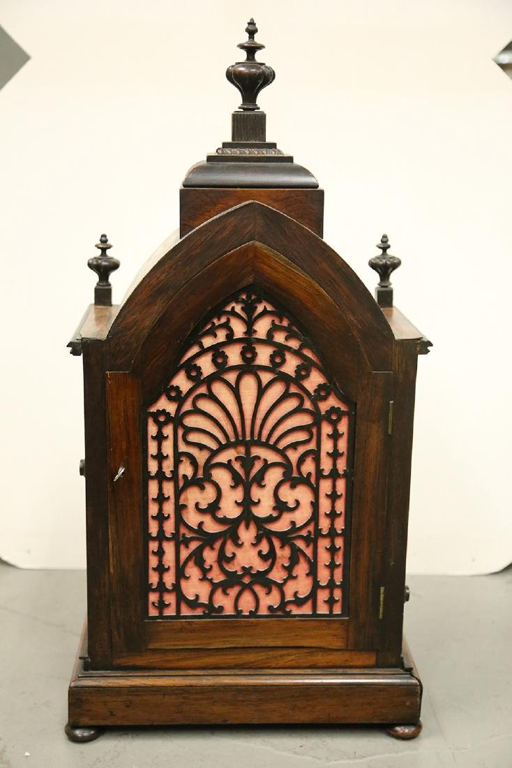 JOHN MOORE & SONS GOTHIC REVIVAL ROSEWOOD CASE MANTEL - 7