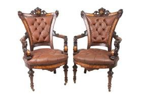 PAIR OF VICTORIAN RENAISSANCE REVIVAL OPEN ARM CHAIRS
