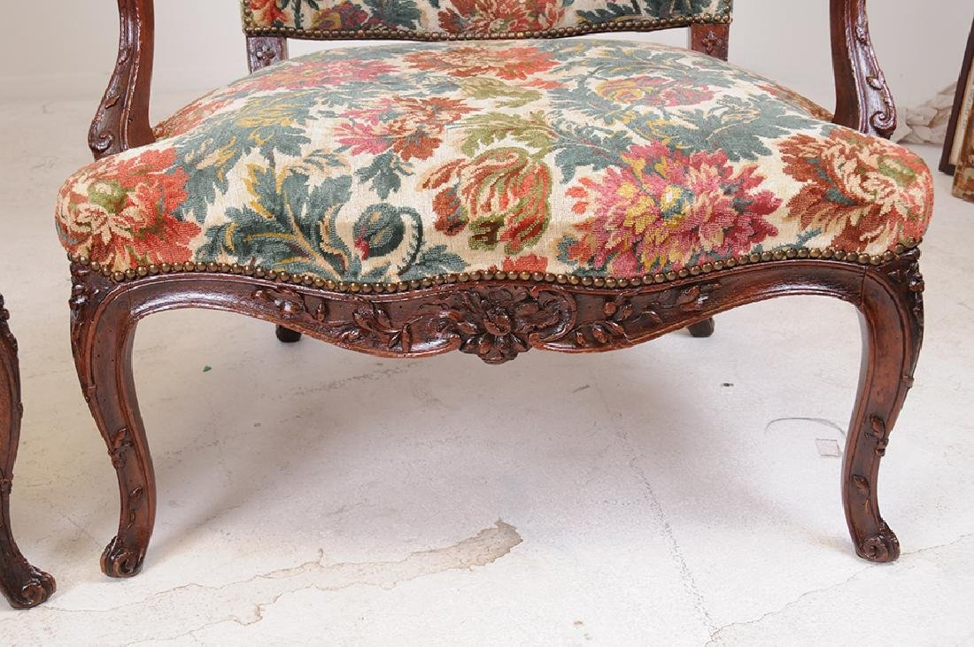 PAIR OF LOUIS XV PROVINCIAL CARVED OAK FAUTEUILS - 7