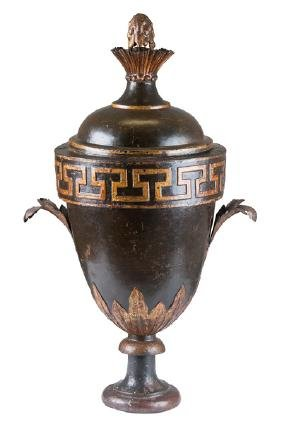 FRENCH TOLE & PARCEL GILT COVERED URN