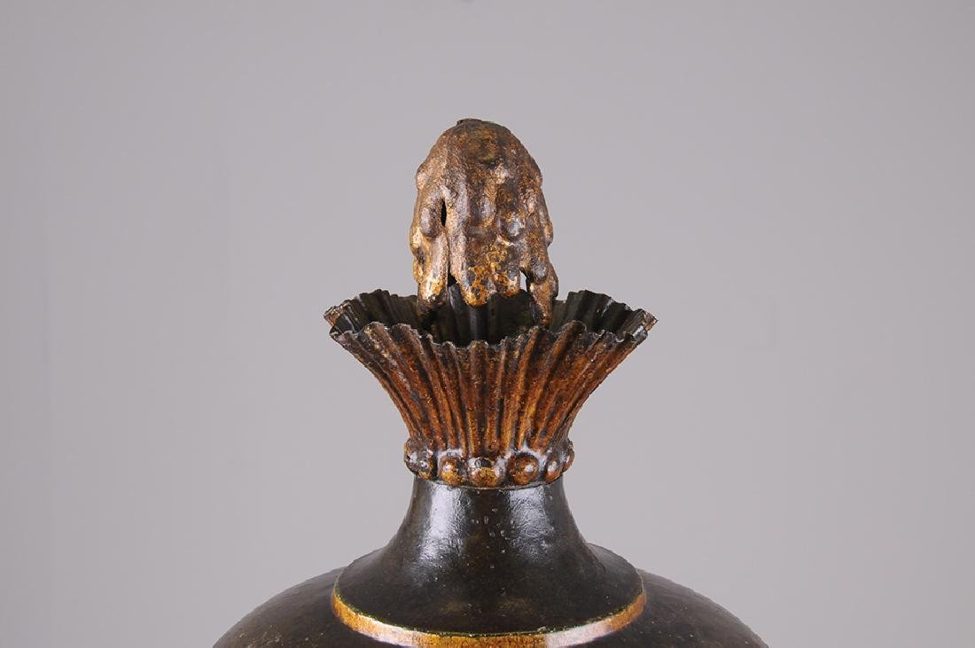 FRENCH TOLE & PARCEL GILT COVERED URN - 2
