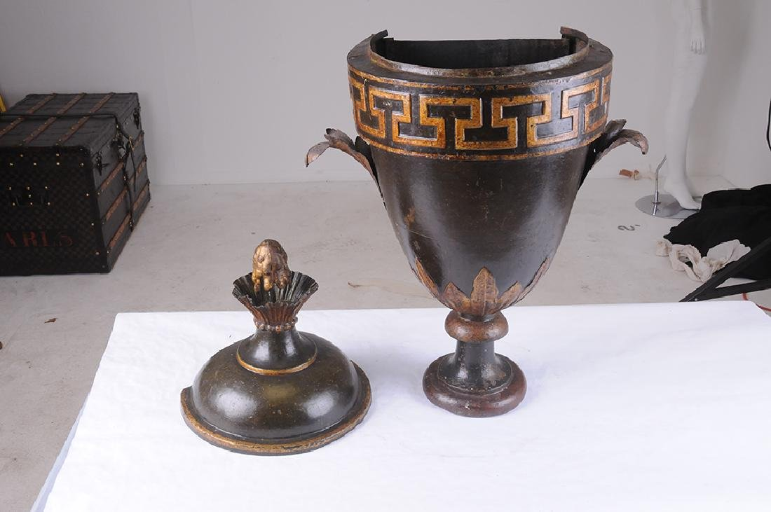 FRENCH TOLE & PARCEL GILT COVERED URN - 3