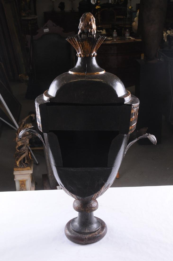 FRENCH TOLE & PARCEL GILT COVERED URN - 5
