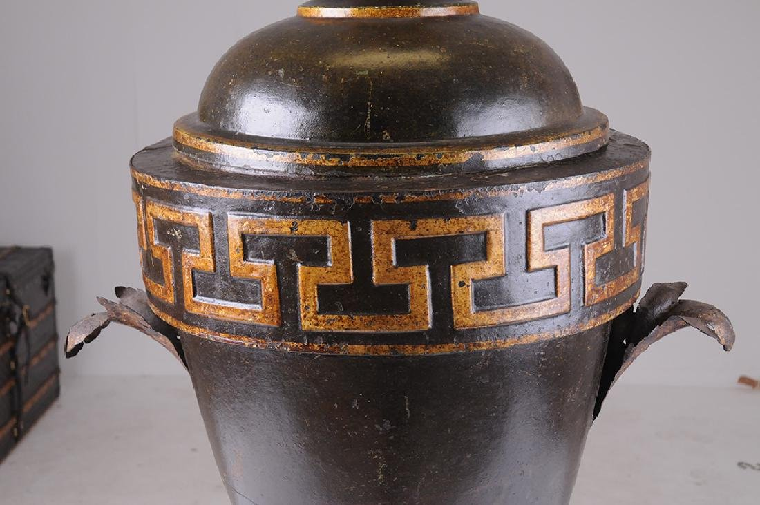 FRENCH TOLE & PARCEL GILT COVERED URN - 8