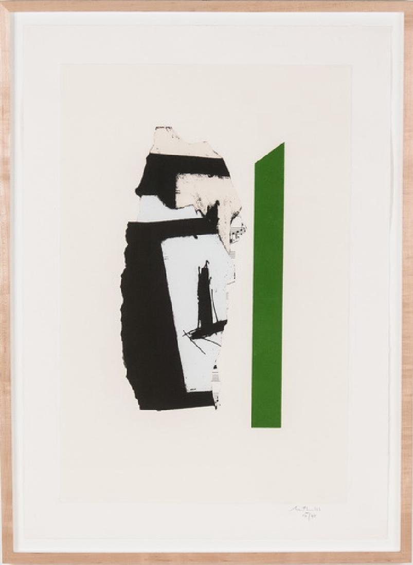 """ROBERT MOTHERWELL: """"IN WHITE WITH GREEN STRIPE"""""""