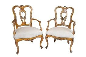 PAIR OF VENETIAN STYLE PAINTED ARMCHAIRS