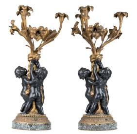PAIR OF  FRENCH BRONZE FIGURAL CANDELABRA
