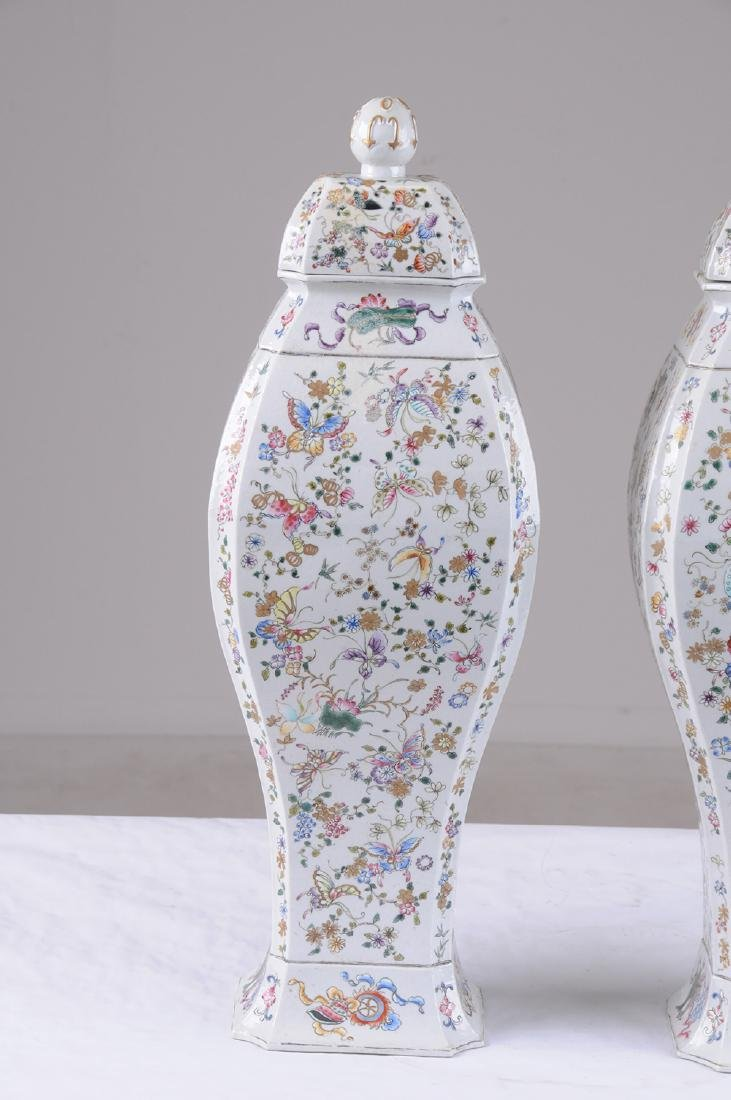 PAIR OF CHINESE PORCELAIN COVERED JARS - 2