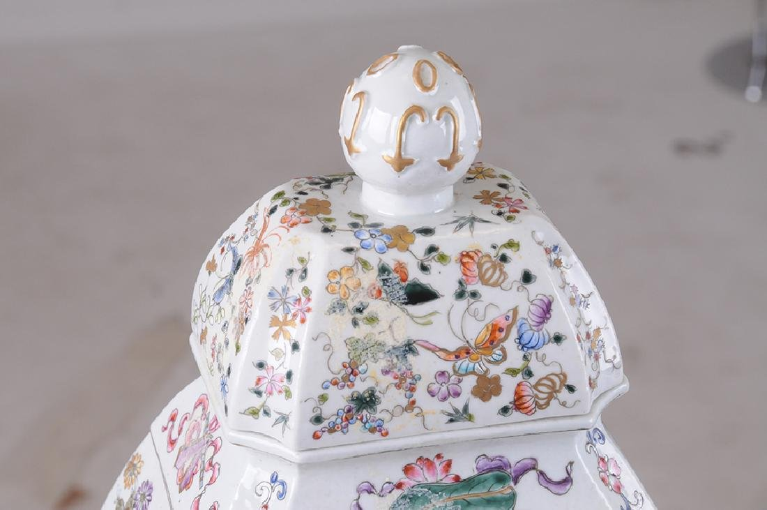 PAIR OF CHINESE PORCELAIN COVERED JARS - 9