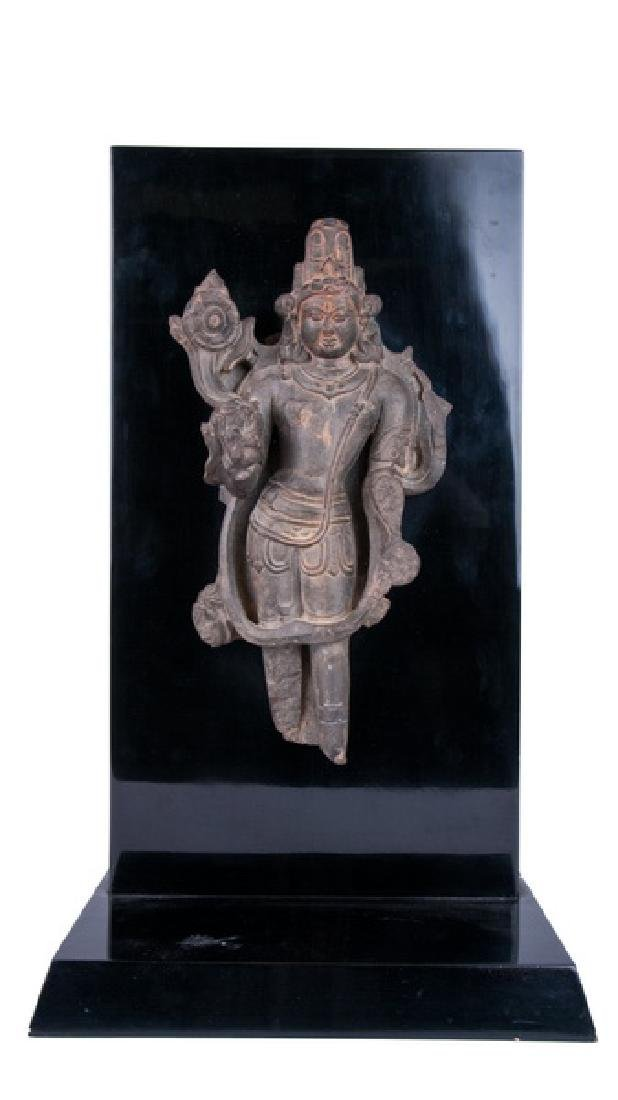 INDIAN PARTIAL BLACK STONE STELE