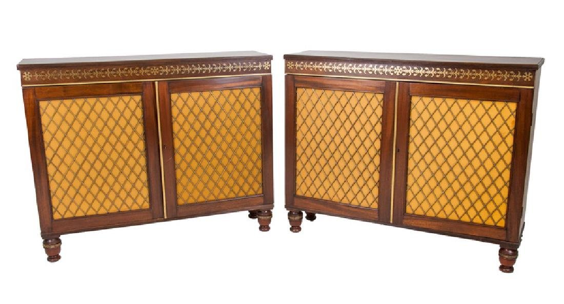 PAIR OF REGENCY MAHOGANY SIDE CABINETS