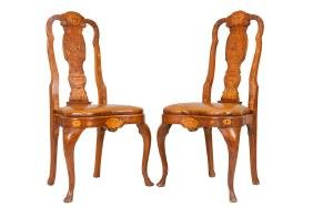 SET OF SIX DUTCH MARQUETRY DINING CHAIRS