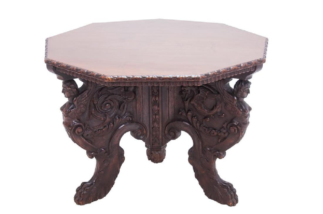 ITALIAN RENAISSANCE STYLE WALNUT CENTER TABLE