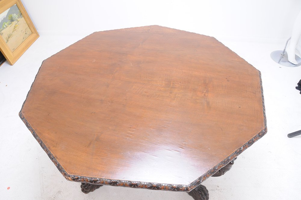 ITALIAN RENAISSANCE STYLE WALNUT CENTER TABLE - 5