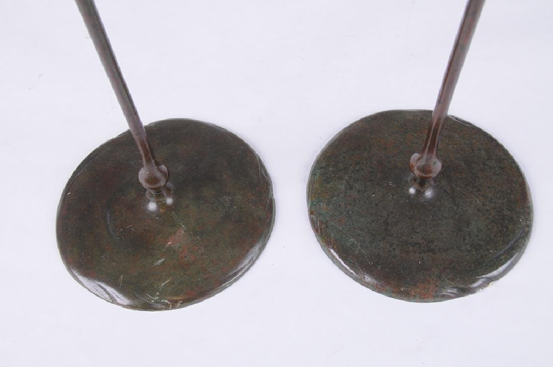 PAIR OF TIFFANY STUDIOS BRONZE CANDLESTICKS WITH ART - 9
