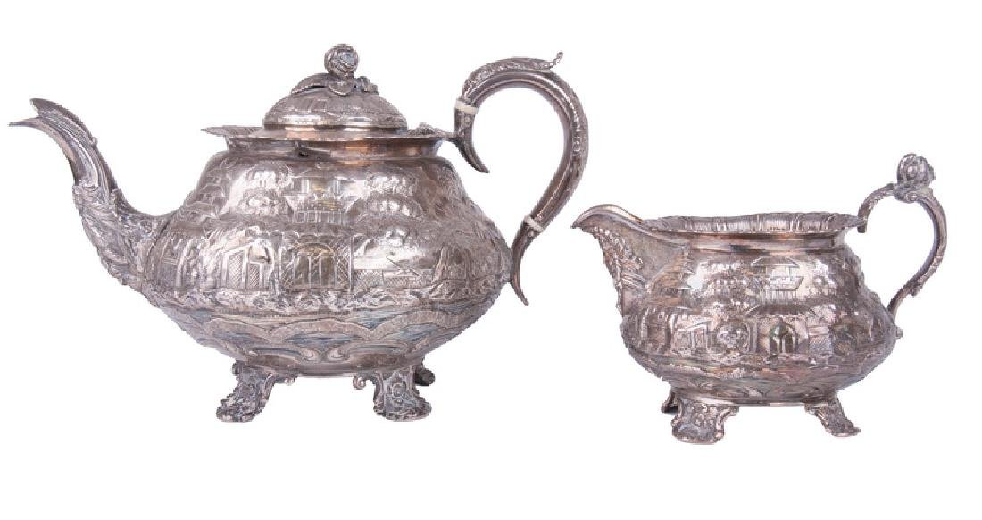 GEORGE IV SILVER TEAPOT & CREAMER