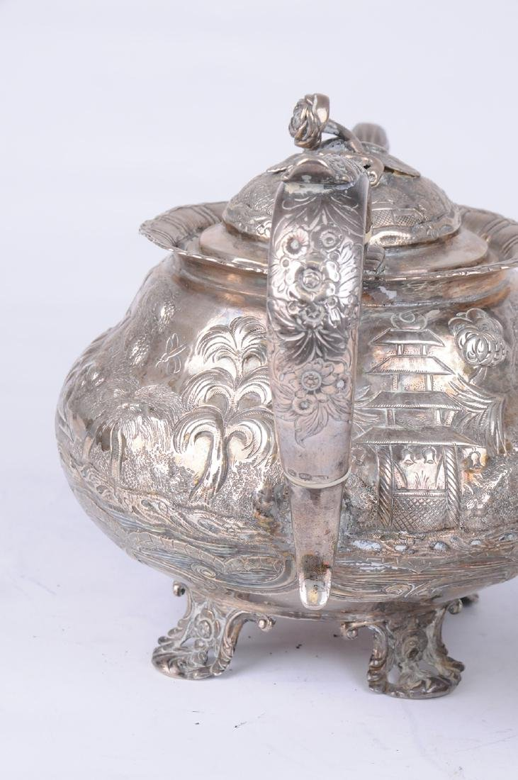 GEORGE IV SILVER TEAPOT & CREAMER - 4