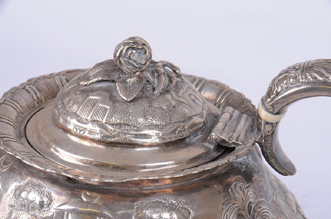 GEORGE IV SILVER TEAPOT & CREAMER - 8