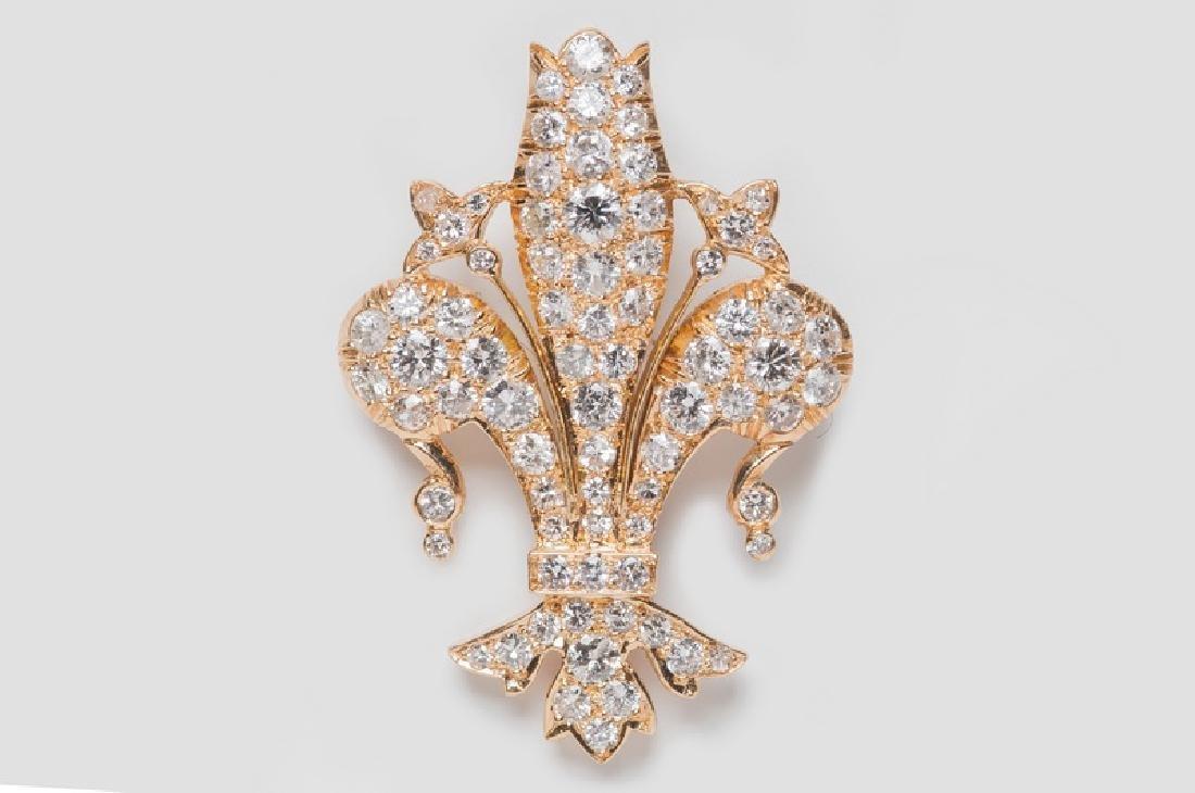 "LAYKIN 18 KARAT GOLD & DIAMOND ""FLEUR-DE-LIS"" BROOCH"