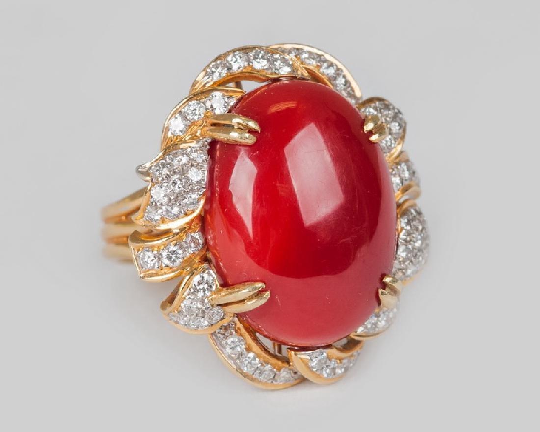 18 KARAT YELLOW & WHITE GOLD, CORAL, AND DIAMOND RING