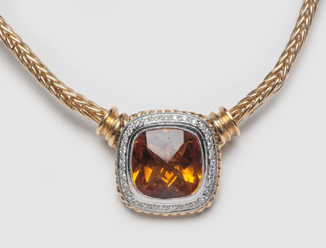 18 KARAT YELLOW & WHITE GOLD, CITRINE, AND DIAMOND