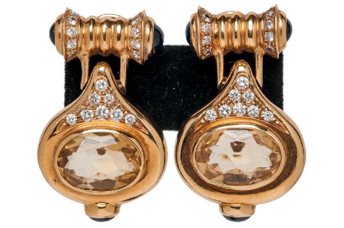PAIR OF 14 KARAT GOLD, DIAMOND, & CITRINE DROP EARRINGS