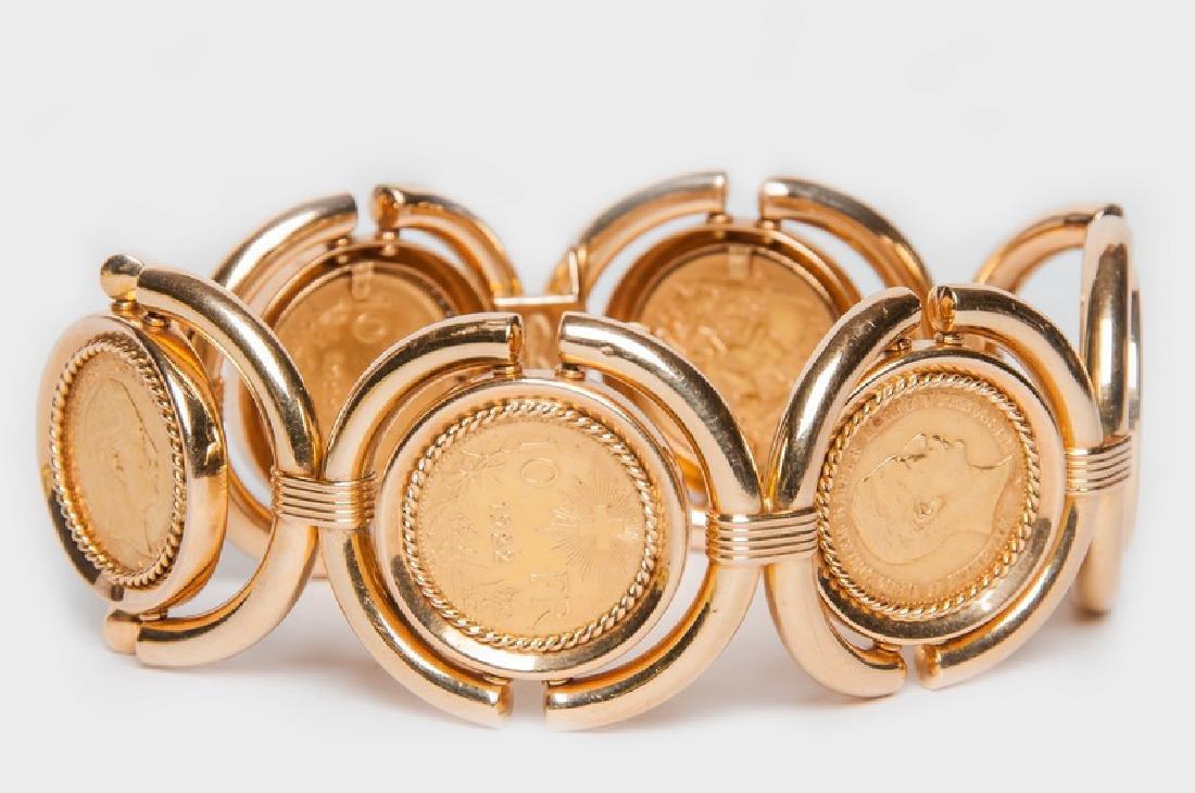 18 KARAT GOLD & COIN BRACELET