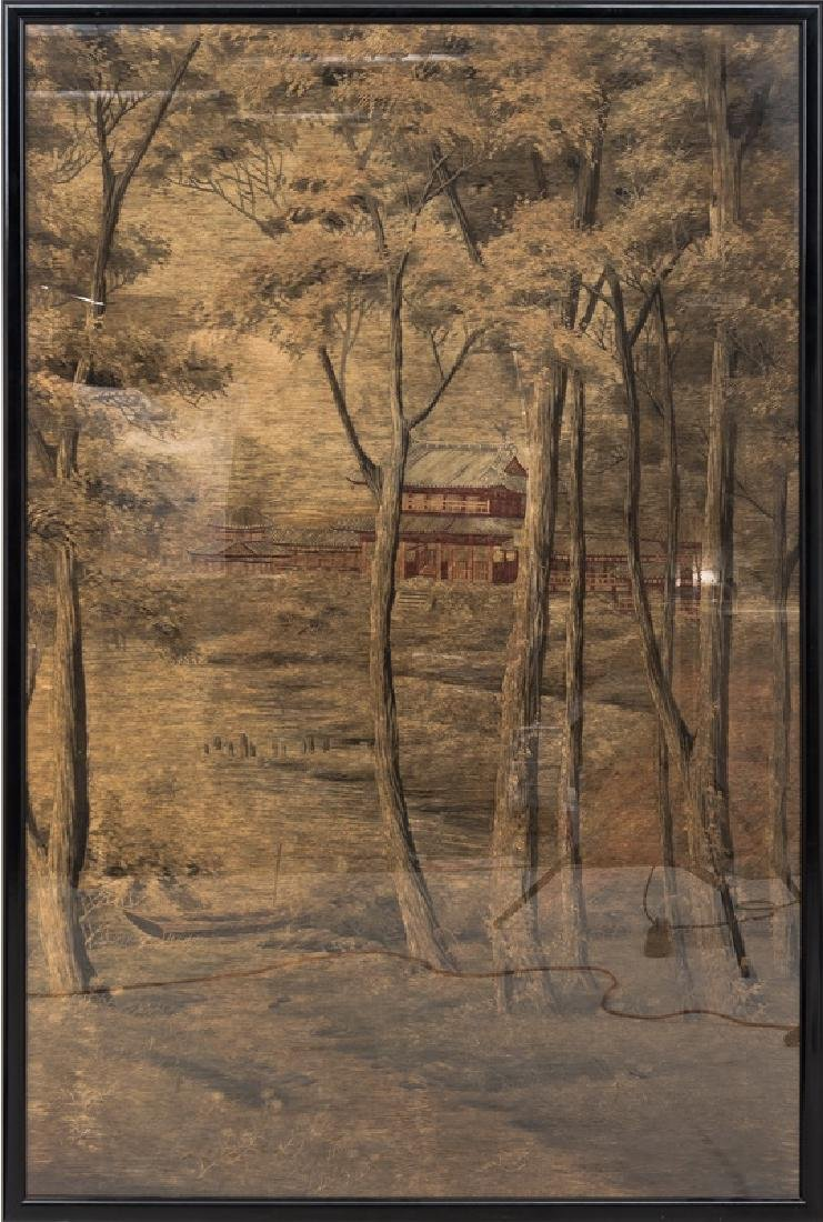 JAPANESE MEIJI SILK EMBROIDERED LANDSCAPE PANEL
