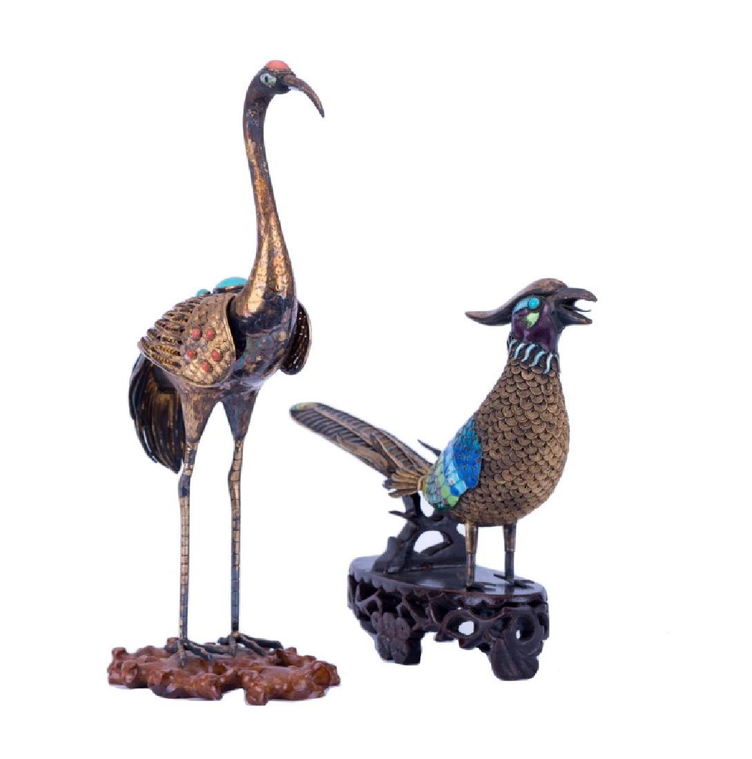 TWO ASSORTED CHINESE GILT SILVER BIRDS