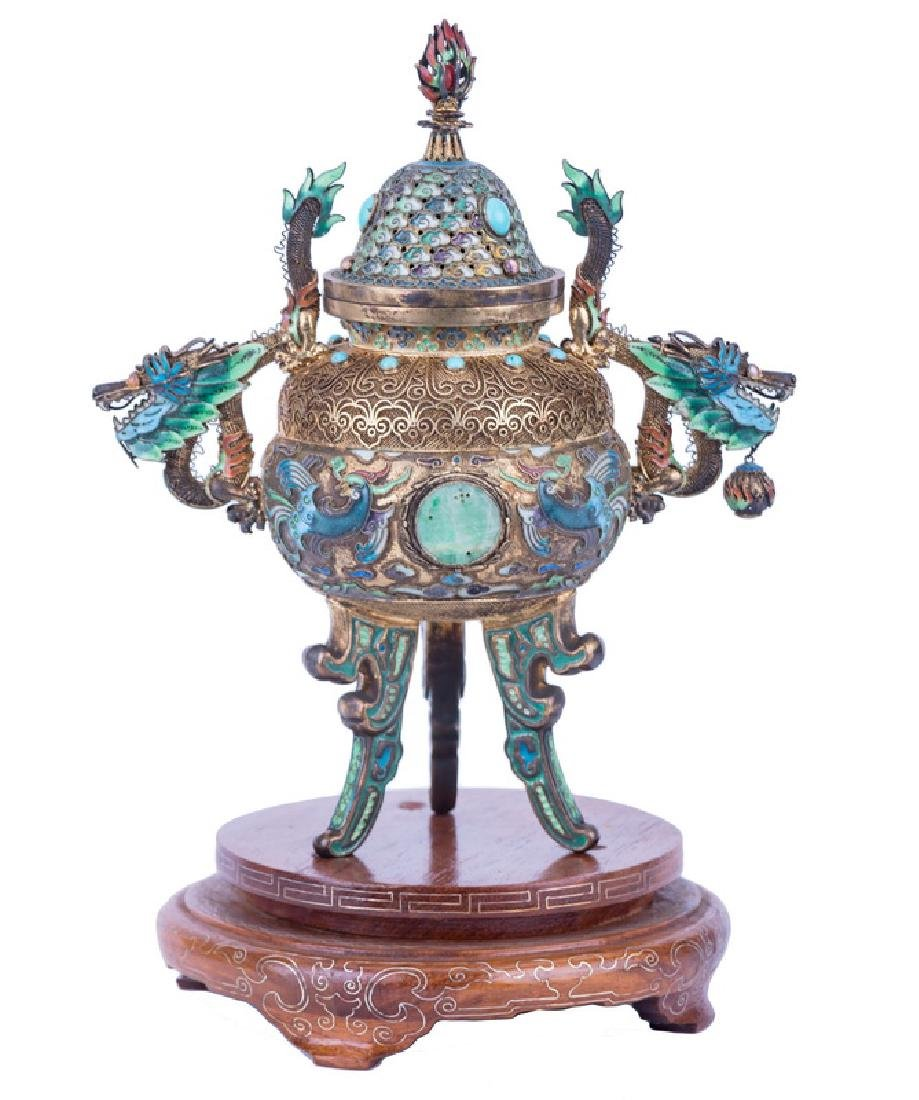 CHINESE GILT SILVER & ENAMEL CENSER