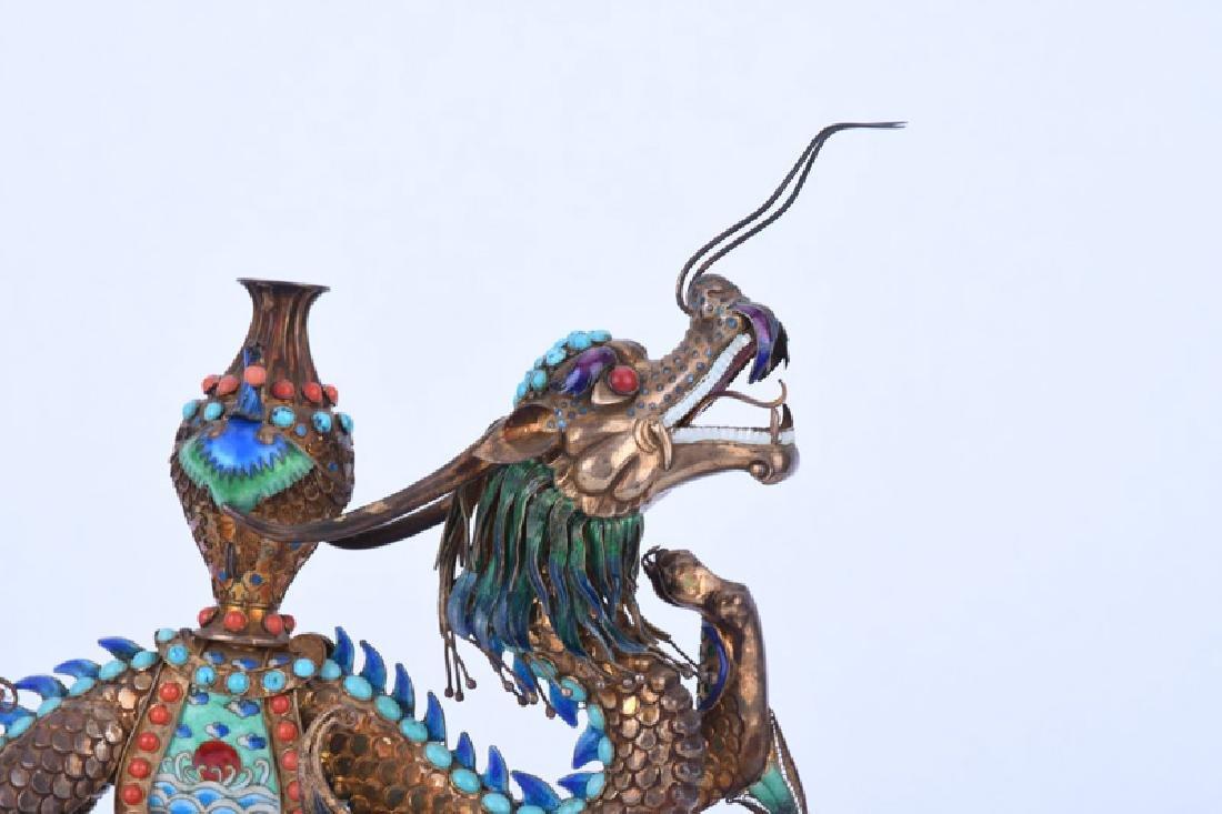 CHINESE GILT SILVER & ENAMEL DRAGON - 5