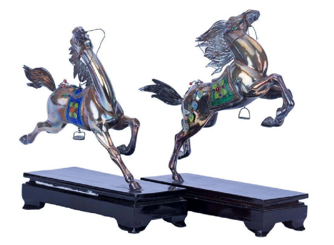 PAIR OF CHINESE SILVER & ENAMEL HORSES