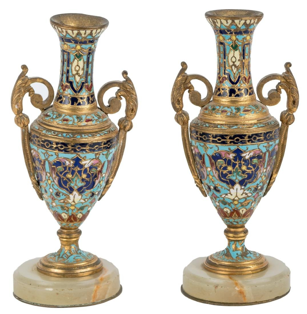 PAIR OF CHAMPLEVE & ONYX MINIATURE URNS