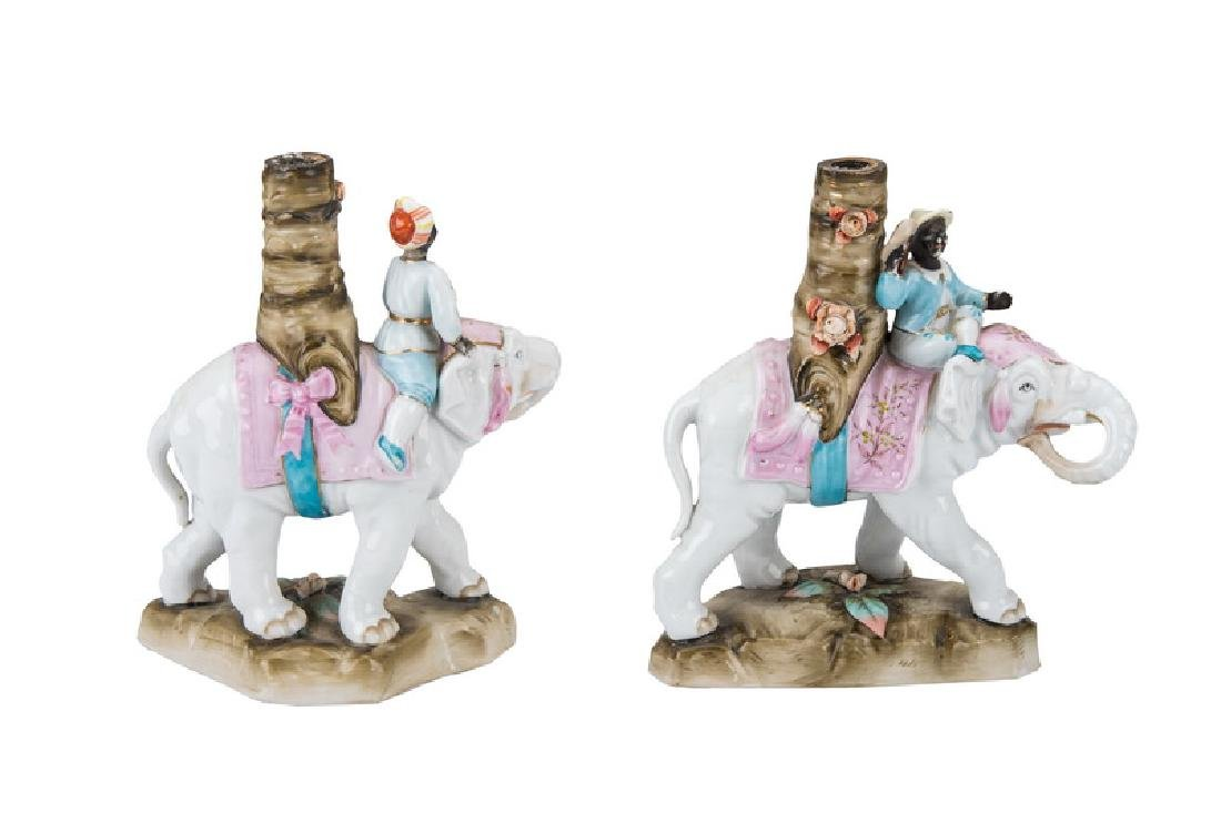 PAIR OF CONTINENTAL PORCELAIN ELEPHANT & RIDER