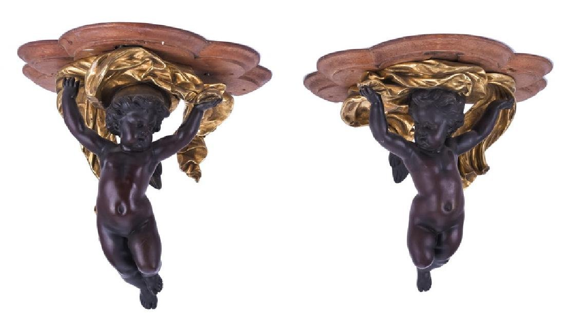 PAIR OF PATINATED & GILT BRONZE FIGURAL BRACKETS
