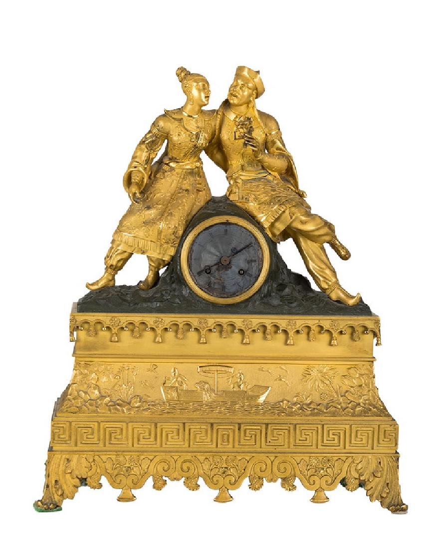 FRENCH CHINOISERIE GILT BRONZE FIGURAL MANTEL CLOCK