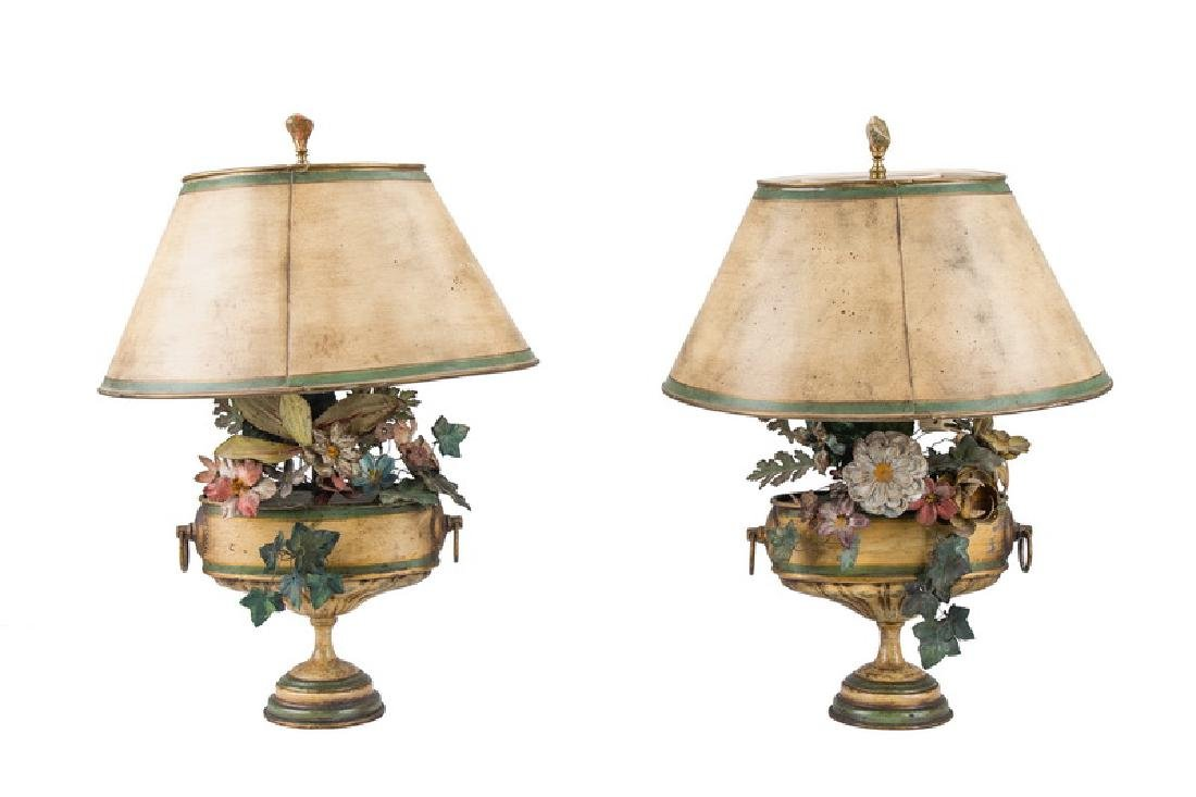 PAIR OF FRENCH PAINTED TOLE FLORAL TABLE LAMPS
