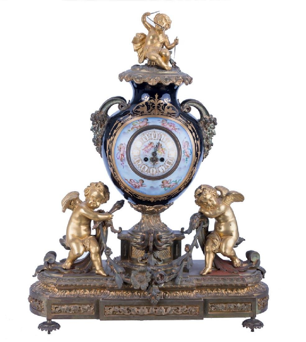 GILT BRONZE, COBALT, & ENAMEL FRENCH MANTEL CLOCK