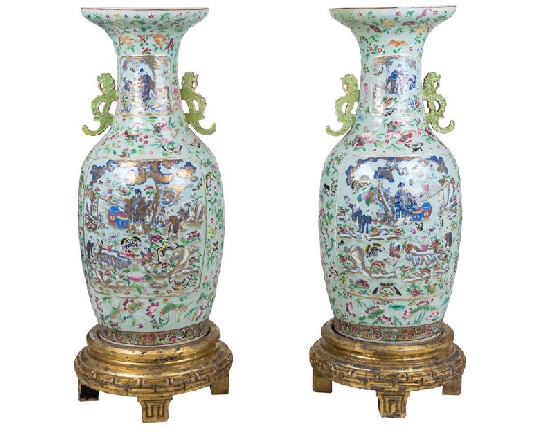 "PAIR OF CHINESE ""FAMILLE ROSE"" PORCELAIN PALACE VASES"