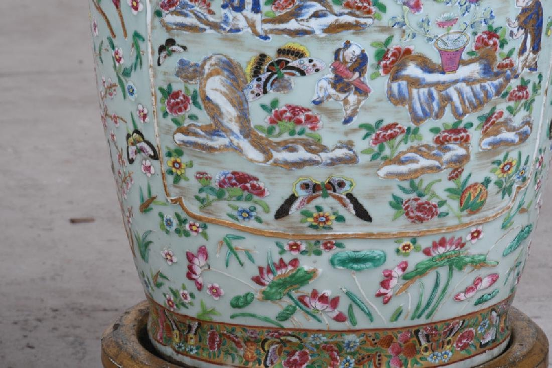 "PAIR OF CHINESE ""FAMILLE ROSE"" PORCELAIN PALACE VASES - 4"