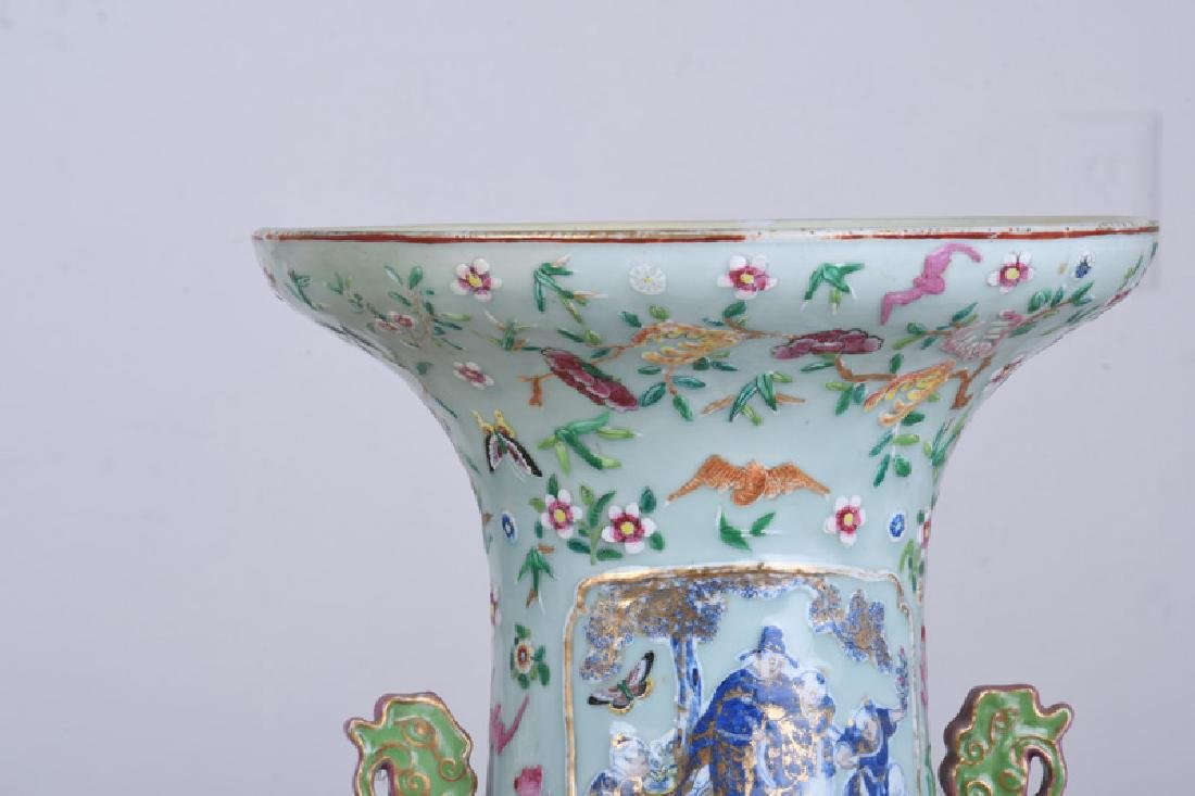 "PAIR OF CHINESE ""FAMILLE ROSE"" PORCELAIN PALACE VASES - 5"