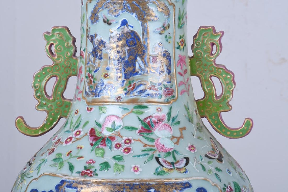 "PAIR OF CHINESE ""FAMILLE ROSE"" PORCELAIN PALACE VASES - 7"