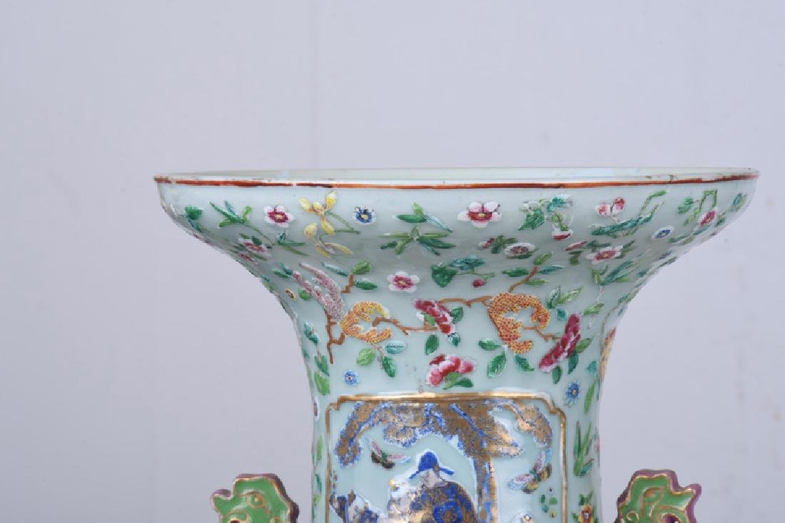 "PAIR OF CHINESE ""FAMILLE ROSE"" PORCELAIN PALACE VASES - 8"