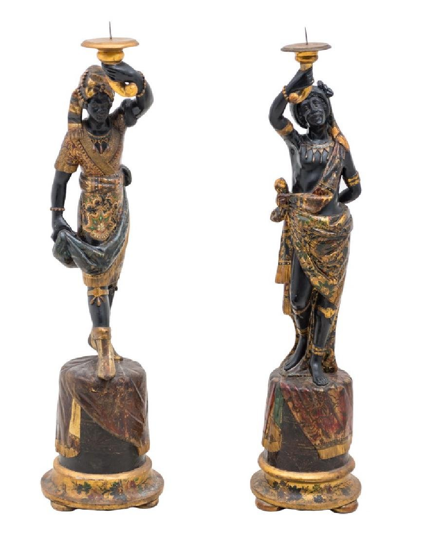 PAIR OF CARVED & POLYCHROME WOOD BLACKAMOORS TORCHIERES